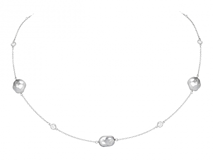 Tiffany & Co. Elsa Peretti Tahitian Keshi Cultured Pearl and Diamond Necklace in Platinum