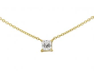 Beladora 'Bespoke' Rectangular Step-cut Diamond Pendant in 18K Yellow Gold