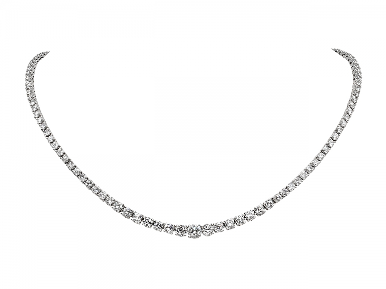 Video of Diamond Rivière Necklace in 14K White Gold