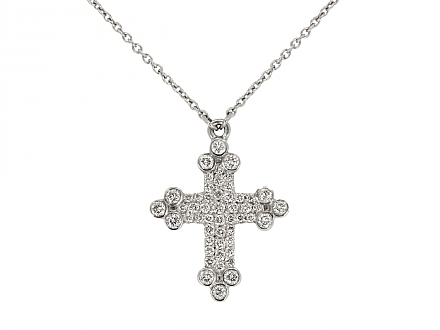Rhonda Faber Green Diamond Cross Pendant in 18K White Gold