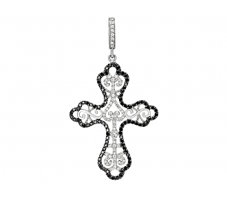 Rhonda Faber Green Black and White Diamond Cross Pendant in 18K White Gold