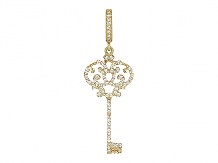 Rhonda Faber Green Pave Diamond Key Pendant in 18K Gold