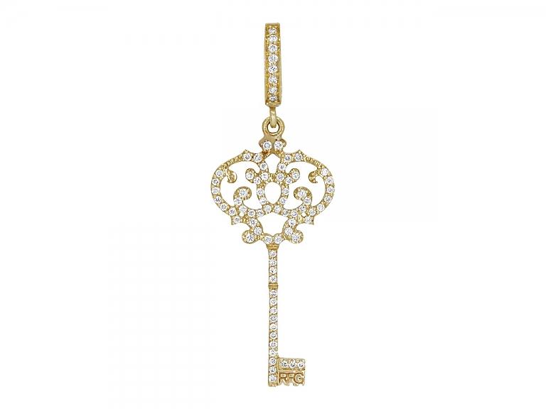Video of Rhonda Faber Green Pave Diamond Key Pendant in 18K Gold