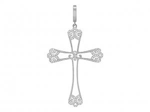 Rhonda Faber Green Diamond Filigree Cross in 18K White Gold