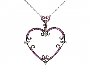 Rhonda Faber Green Pink Sapphire and Diamond Heart Pendant Necklace in 18K White Gold