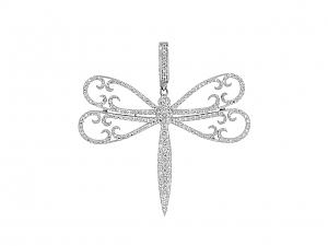 Rhonda Faber Green Diamond Dragonfly Pendant in 18K White Gold