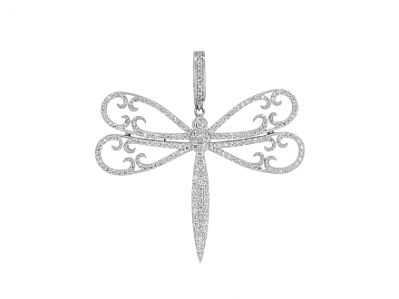 Rhonda Faber Green Diamond Dragonfly Pendant in 18K White Gold