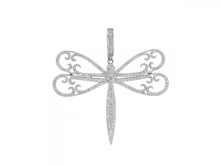 Video of Rhonda Faber Green Diamond Dragonfly Pendant in 18K White Gold