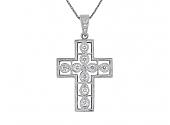Diamond Cross Pendant in 18K White Gold