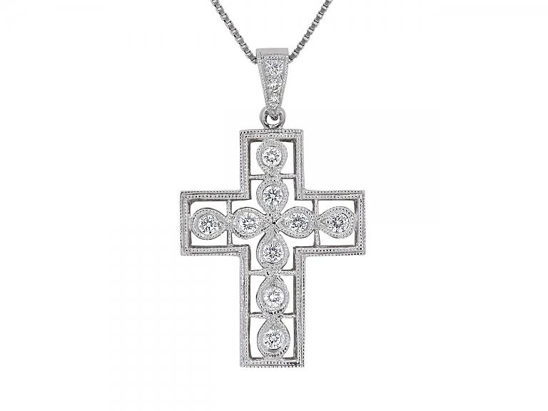 Video of Diamond Cross Pendant in 18K White Gold