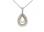 Yellow and White Diamond Pendant in 18K White Gold