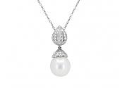 Pearl and Diamond Pendant in 18K