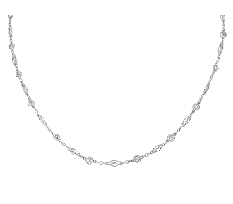 Art Deco Diamond Collet Necklace in Platinum
