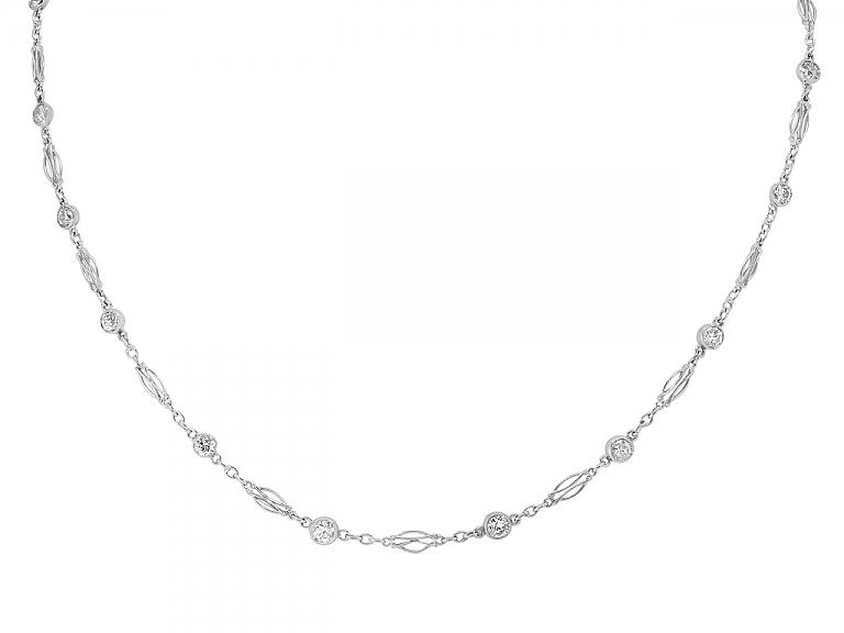 Video of Art Deco Diamond Collet Necklace in Platinum
