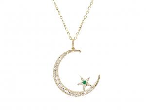 Diamond Crescent and Star Pendant in 14K Gold