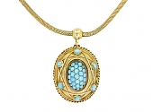 Antique Victorian Turquoise Locket Pendant and Chain in 14K Gold