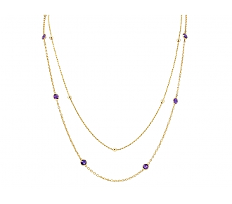 Pair of Amethyst Station Necklace and Braided Gold Chain in 18K Gold