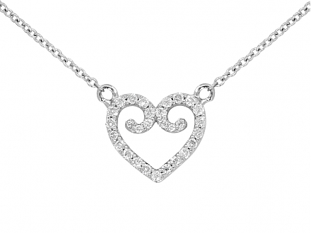 Rhonda Faber Green Diamond Heart Pendant in 18K White Gold