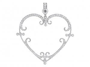 Rhonda Faber Green 'Filigreen Heart' Pendant Necklace in 18K White Gold, Large