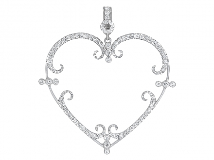 Rhonda Faber Green 'Filigreen Heart' Pendant Necklace in 18K White Gold, Large