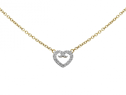 Rhonda Faber Green Diamond Pavé Heart Pendant in 18K White and Yellow Gold