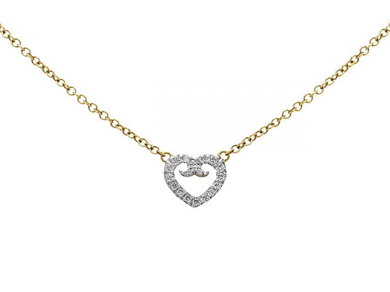 Video of Rhonda Faber Green Diamond Pavé Heart Pendant in 18K White and Yellow Gold