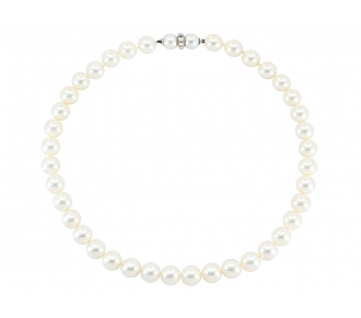 Pearl Necklace, with Diamond 14K White Gold Clasp