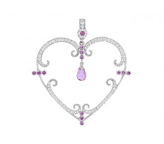 Rhonda Faber Green 'Filigreen Heart' Diamond and Pink Sapphire Pendant in 18K White Gold