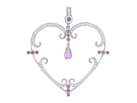 Rhonda Faber Green 'Filigreen Heart' Diamond and Pink Sapphire Pendant in 18K White Gold