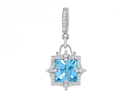 Rhonda Faber Green 'Empress' Blue Topaz and Diamond Pendant in 18K White Gold