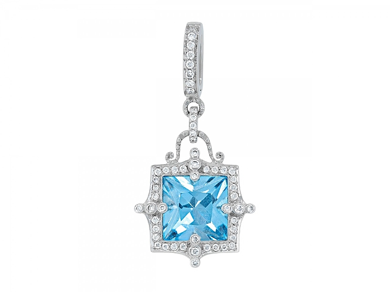 Video of Rhonda Faber Green 'Empress' Blue Topaz and Diamond Pendant in 18K White Gold
