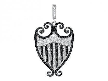 Rhonda Faber Green 'Filigreen' Crest Black and White Diamond Pendant in 18K