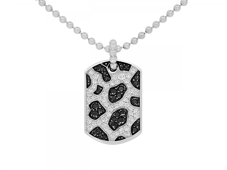 Video of Rhonda Faber Green Black and White Diamond 'Snow Leopard Dog Tag' Pendant Necklace in 18K