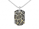 Rhonda Faber Green Yellow and Brown Diamond 'Giraffe Dog Tag' Pendant Necklace in 18K