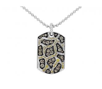Rhonda Faber Green Yellow and Brown Diamond 'Giraffe Dog Tag' Pendant Necklace in 18K