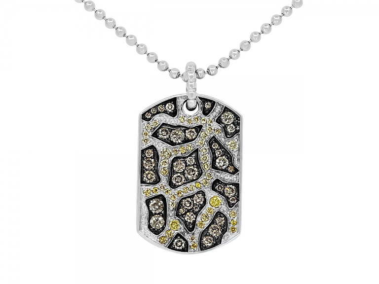 Video of Rhonda Faber Green Yellow and Brown Diamond 'Giraffe Dog Tag' Pendant Necklace in 18K