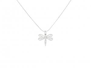 Rhonda Faber Green Dragonfly Pendant in 18K White Gold