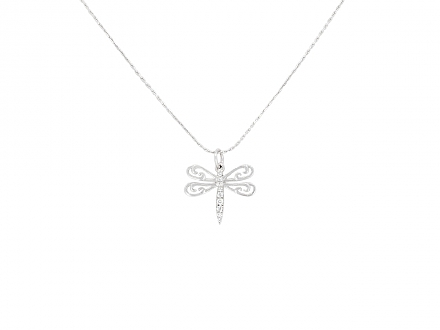 Rhonda Faber Green Dragonfly Pendant in 18K White Gold