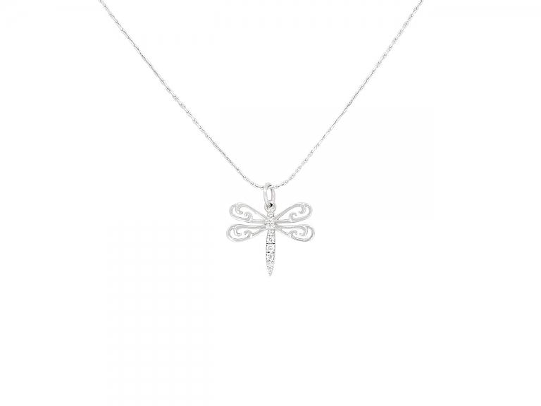 Video of Rhonda Faber Green Dragonfly Pendant in 18K White Gold