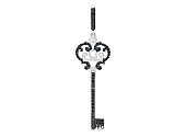 Rhonda Faber Green Pave Black and White Diamond Filigree Key Pendant in 18K White Gold
