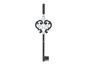 Rhonda Faber Green Pave Black and White Diamond Filigree Key Pendant in 18K White Gold