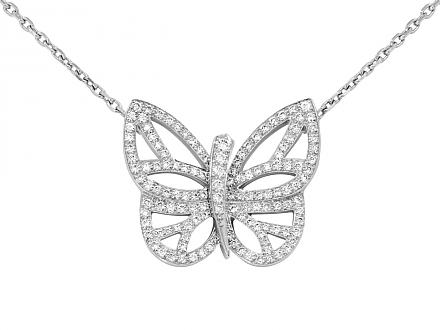 Van Cleef & Arpels 'Flying Beauties' Pendant in 18K White Gold