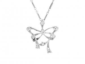 Vintage Diamond Bow Pendant in Platinum