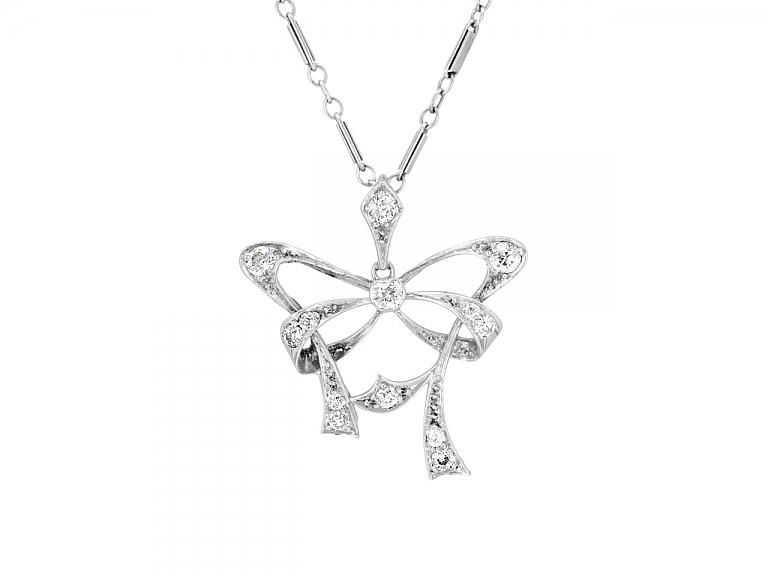 Video of Vintage Diamond Bow Pendant in Platinum