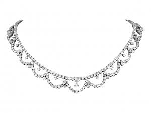 Piranesi Diamond Garland Necklace in 18K White Gold