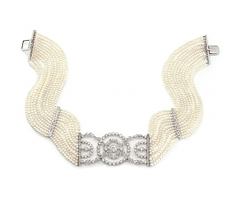 Edwardian Style Cultured Pearl, Natural Seed Pearl, and Diamond Choker in 18K