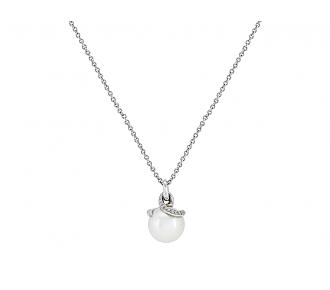 Mikimoto Pearl and Diamond Pendant in 18K White Gold