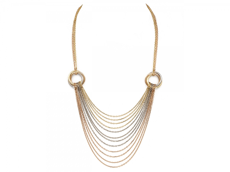 Video of Cartier Trinity Tricolor Multistrand Necklace