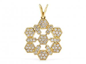 Diamond Snowflake Pendant in 18K Gold