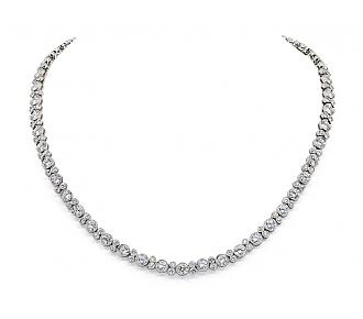 Collet Diamond Rivière Necklace in 18K  White Gold